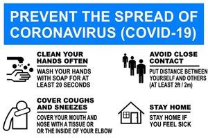 Prevent The Spread Of COVID-19 Sign