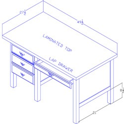 Left-Hand Desk With Lap Drawer