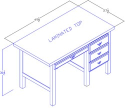 Right-Hand Desk With Lap Drawer