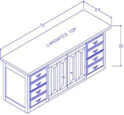 Credenza With File Drawers/Center Doors