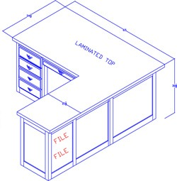 """Right-Hand Executive Desk With 42"""" Return"""