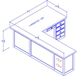 """Left-Hand Executive Desk With 60"""" Return/Pullout"""