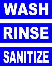 Wash, Rinse, Sanitize Hand Washing Sign